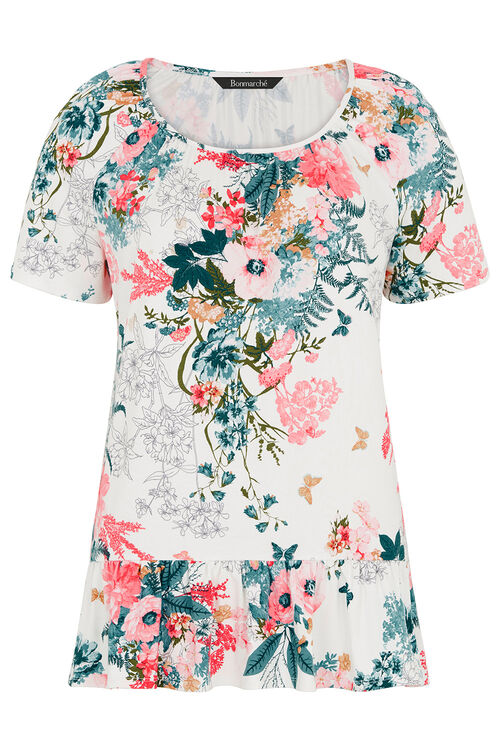Floral And Butterfly Jersey Peplum Top