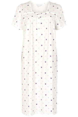 Spot Button Jersey Nightdress