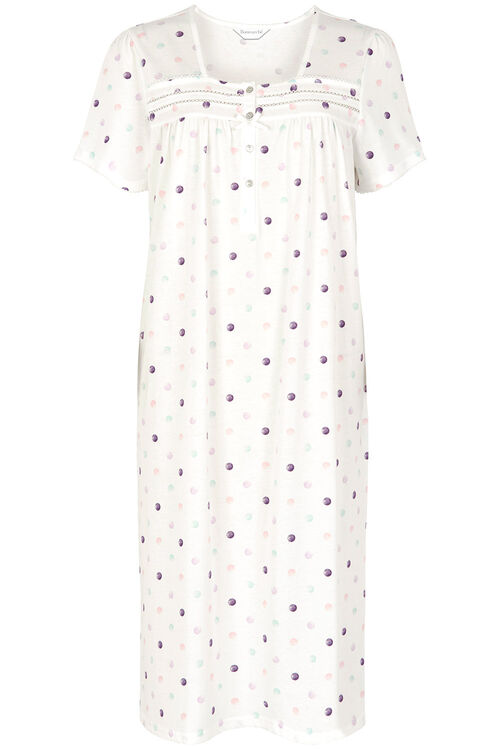 Spot Button Jersey Nightdress