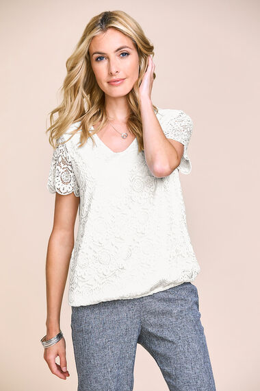 V-Neck Lace Top with Jersey Back