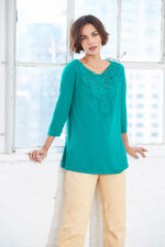 Ann Harvey 3/4 Sleeve Lace Yoke Top