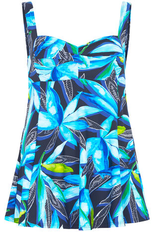 Watercolour Leaf Print Twist Front Swimdress
