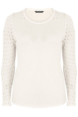 Jumper with Pointelle Sleeve