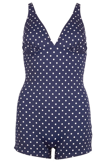 White Spot Navy Playsuit