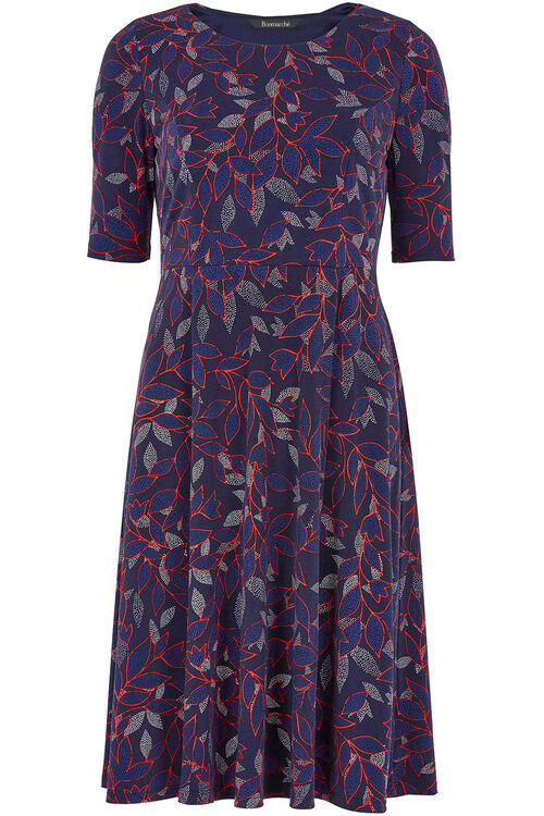 Leaf Print Fit and Flare Dress
