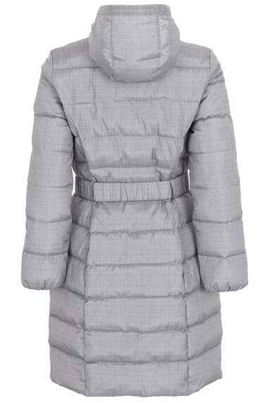Herringbone Printed Longer Length Padded Coat