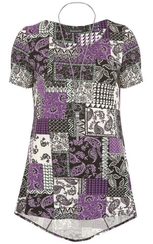 Paisley Patchwork Print Tunic Top