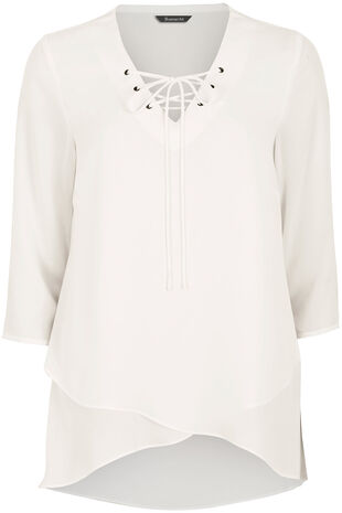 Wrap Front Blouse with Lace Up Neck