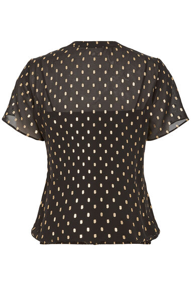 Gold Print Pleat Front Blouse