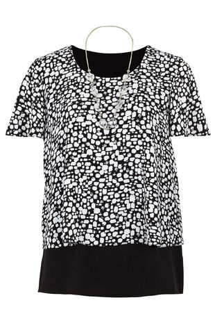 David Emanuel Mono Print Double Layer Blouse
