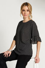 Spot Print Fluted Sleeve Top