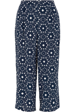 Geo Print Wide Leg Cropped Trousers