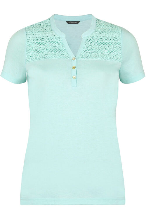 Lace Detail Stand Collar T-Shirt