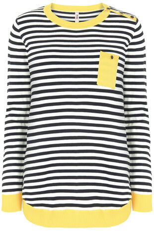 Stella Morgan Yellow Trim Stripe Jumper with Pocket