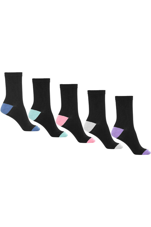 5 Pack Contrast Heel & Toe Socks