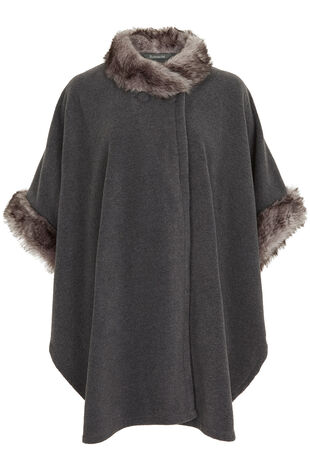 Fur Trim Fleece Wrap