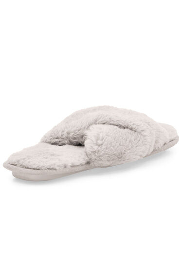 Faux Fur Open Toe Mule Slipper