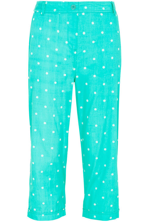 Daisy Print Cotton Cropped Trousers