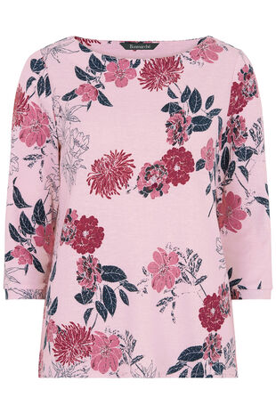 Pink Floral Print Textured Sweat