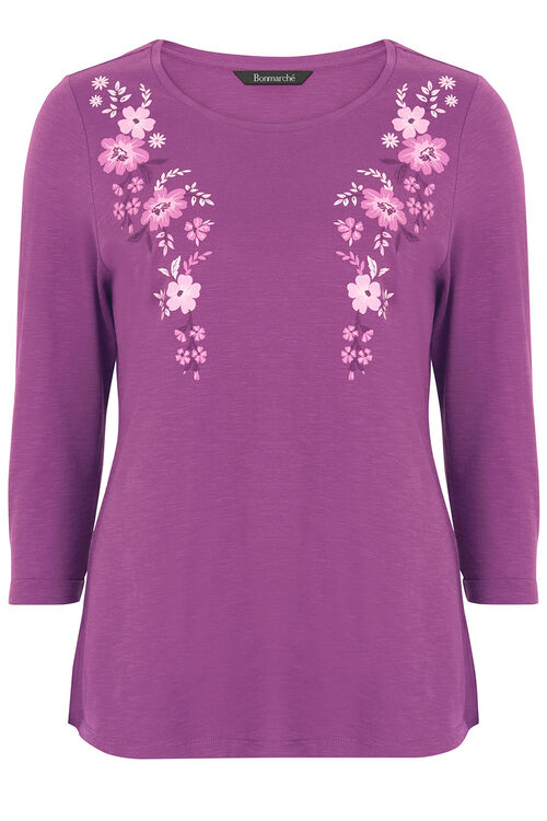 Floral Print Embroidered T-Shirt