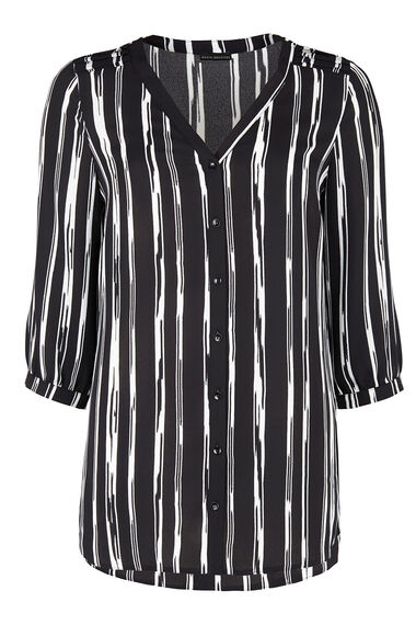 David Emanuel 3/4 Sleeve Stripe Buttoned Tunic