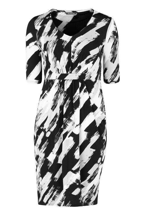 Brush Stroke Slouch Pocket Printed Dress