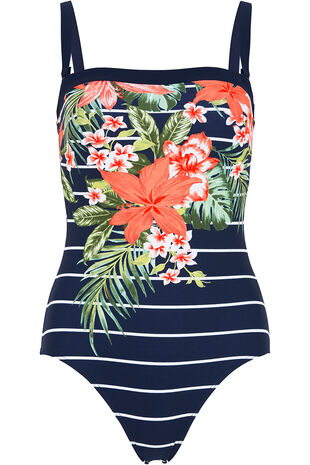 Tropical Print Bandeau Swimsuit with Detachable Straps