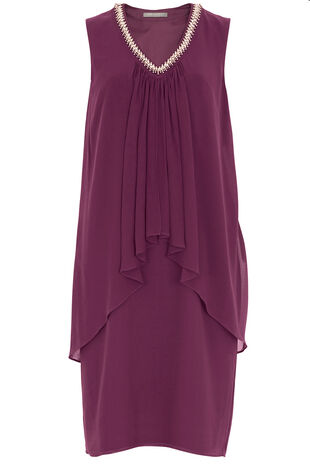 Ann Harvey V Neck Embellished Dress