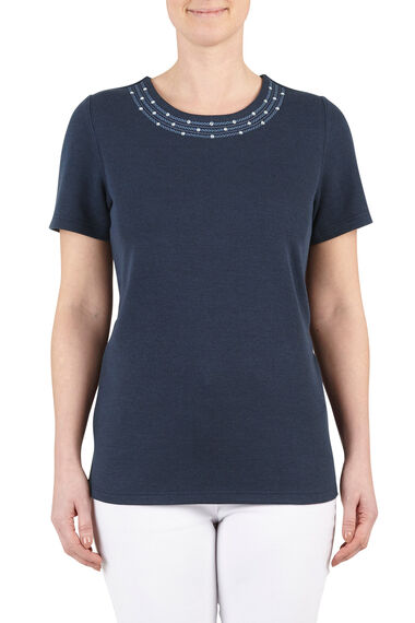 Pearl Lace Detail T-Shirt