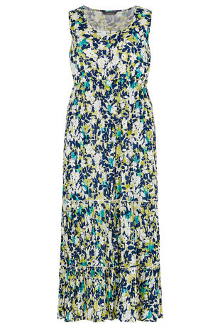 Floral Crinkle Cotton Maxi Dress