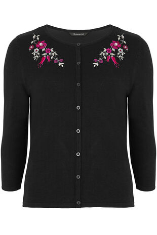 Floral Embroidered Neckline Cardigan