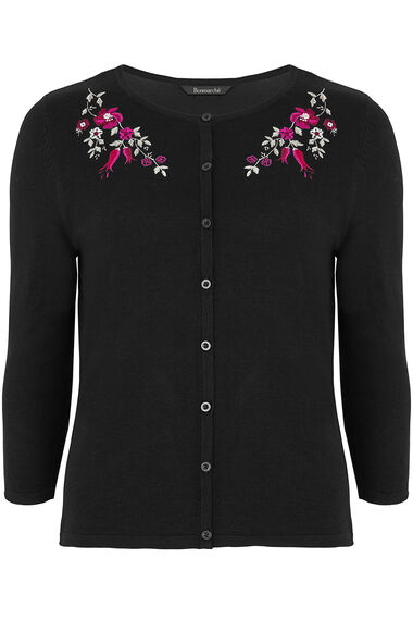 Floral Embroidered Neckline Cardigan