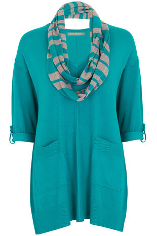 Ann Harvey Sweater With Stripe Scarf