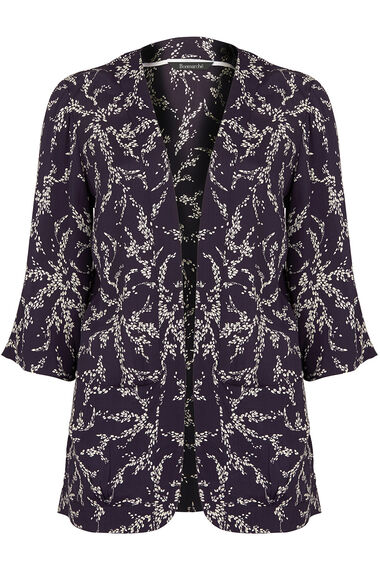 3/4 Sleeve Petal Print Cover Up