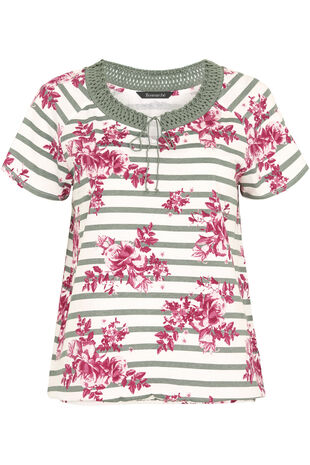Stripe & Rose Crochet T-Shirt