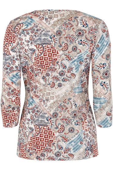 Cotton Patchwork Notch Neck T-Shirt