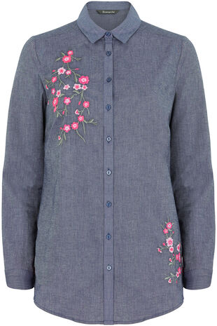 Denim Shirt With Floral Embroidery