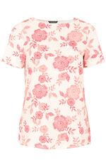 Boat Neck Floral Rib Back T-Shirt