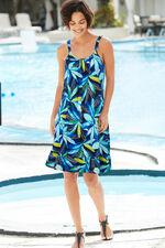 Watercolour Leaf Print Beach Dress with Frill Hem