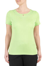 Embroidered Trim Scoop Neck T-Shirt