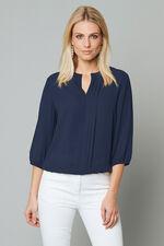 Plain 3/4 Sleeve Pleat Front Blouse
