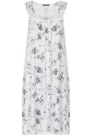 Grey Rose Print Nightdress