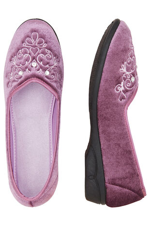 Embroidered Velour Slipper