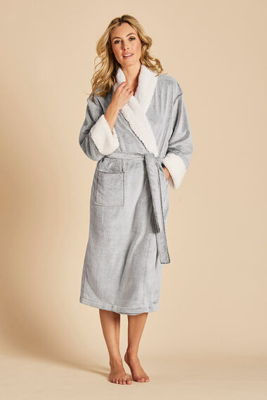 Fleece Trim Dressing Gown