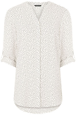 Longline Spot Print Button Through Shirt