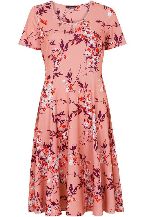 Floral Blossom Print Fit and Flare Dress