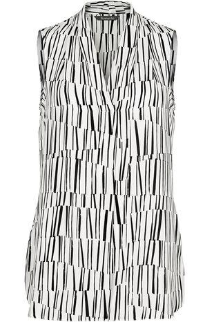 Sleeveless Matchstick Print Blouse