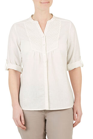 Embroidered Linen Blend Blouse