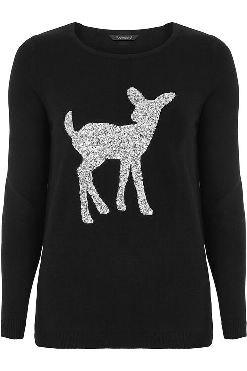 Sequin Deer Jumper
