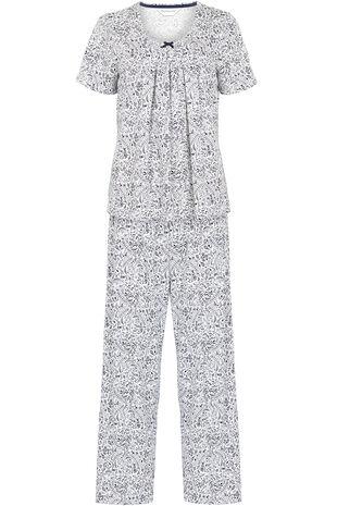 Fern Print Pleated Top Pyjama Set